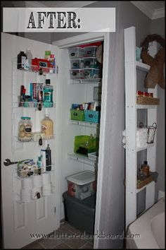 Cluttered Corkboard: Linen Closet Organization Before and After