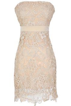 Make A Wish Crochet Lace Strapless Dress in Beige