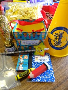 """Our class competition winners received goodie boxes in keeping with our """"Box Tops Detective"""" and """"Popping Successful Year"""" theme.  Each student received a certificate, Cream of the Crop trophy, magnifying glass, crayons, pencil, eraser, sharpner, mini notebook and megaphone popcorn holder.  The popcorn was generously donated by Dickenson 14 Theatre!"""