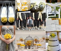 gray and yellow outdoor wedding