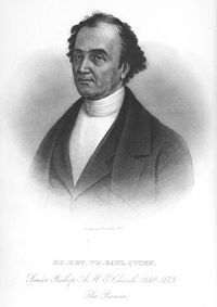William Paul Quinn (10 April 1788–3 February 1873) was the fourth bishop of the African Methodist Episcopal Church, an independent black denomination founded in Philadelphia, Pennsylvania in 1816.  In 1836 he was assigned to Indiana and Ohio as a missionary; he settled in Richmond, Indiana as his base, founding an AME Church there and several throughout these states. In 1844 he was elected as bishop. Quinn was said to have been born in Calcutta, India to an Egyptian mother and Spanish father,,,