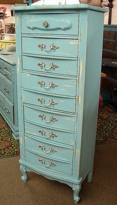 Vintage Reclaimed Covington Blue Paint French Paris Lingerie Chest of Drawers Dresser..