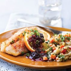Cod with Spicy Orange & Black Cherry Sauce & Couscous (Click Pic for Recipe) I completely swear by CLEAN eating!! Follow my blog  To INSANITY and back....  One Girls Journey to Fitness, Health, & Self Discovery.... http://mmorris.webs.com/