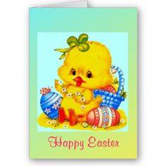 #cards #easter #chick #zazzle #elenaindolfi Easter Greeting Card by elenaind