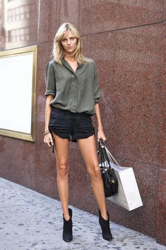 Silk blouse paired with shorts