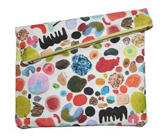 Prismatic Collection Abstract Art Big Zipper Clutch