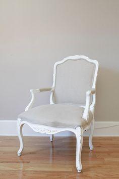 white louis xv chair, gray linen