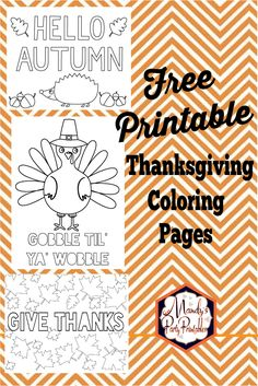 Get these free Thanksgiving coloring pages for preschool children (and adults too!) that you can print right away for hours of fun with your family. | Mandy's Party Printables