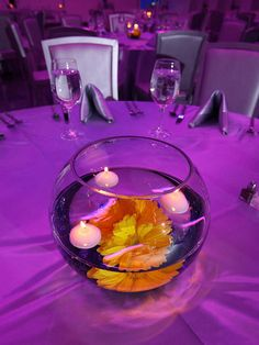 Flowering centerpiece #wedding we did this at work-very inexpensive and grandma has oodles of fishbowls