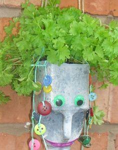 garden projects, milk jug, milk bottles, milk cartons, buttons, beads, planter, plant containers, kid