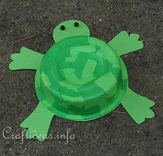 paper mache turtle made from a sour cream container! Super cute!