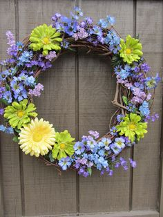 Spring wreath-I think I want to do this for the front doors at my house :)