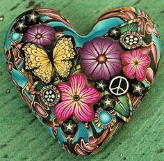 butterfly rock painting, butterfli, heart rocks, heart focal, polym clay