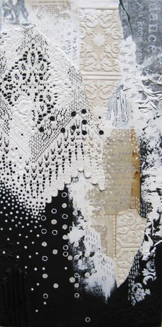 layers of lace and paper collage.