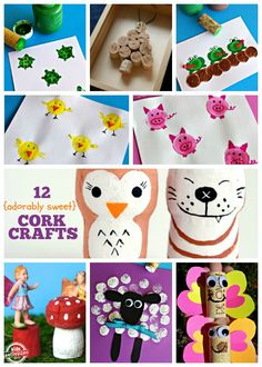 Adorable cork crafts that kids can make from recycled materials.