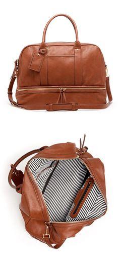 Cognac Weekender Bag //