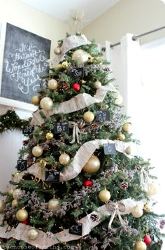 The House of Smiths - Woodsy Winter Wonderland Christmas Tree with birch tree garland and chalkboard ornaments