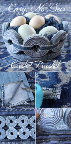 Make this unique denim Easter basket in time for this years festivities #DIY