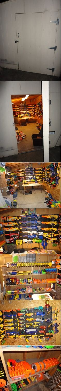 Nerf Armory...for my someday sons (except I would totally SteamPunk mod them ALL!) Awesome!