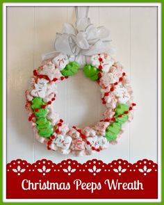 Wreath made from Peeps @Jordan and Crinoline #Peeps #wreath #Christmas