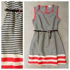 Black + Red Stripes Coquette Dress