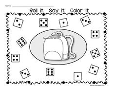FREEBIE!! Dice Game: {Roll It. Say It. Color It.} Supports Kindergarten Common Core. Perfect for Math Centers.