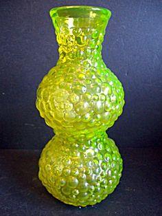 Vase, Yellow Vaseline Glass