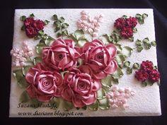 ribbon flower layout flower layout, ribbon manipul, flower ribbon, ribbon embroideri, ribbon flower