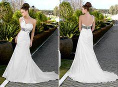One shoulder dress with color