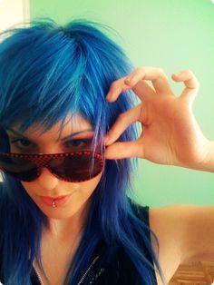 hair colors, color blue, blue short hair styles, blue hair, bangs, hairstyl, blue dyed hair, scene hair, blues