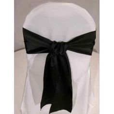 Black Satin Wedding Chair Sash Bows (set of 10) - $10.50