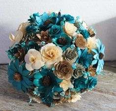 Teal Ivory Brown Copper Rustic Wood Bouquet