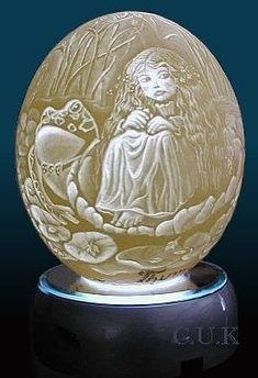 Carved ostrich egg.