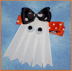 Super cute ghost hair clip! https://www.retailpackaging.com/categories/74-everyday-specialty-ribbon #Halloween #DIY #crafts #kids