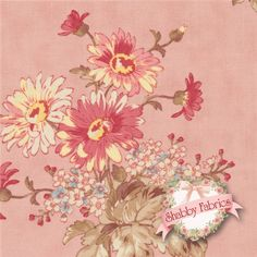 "Lario 44001-13 Blush By 3 Sisters For Moda Fabrics : Lario is a collection by 3 Sisters for Moda Fabrics.  100% cotton.  43/44"" wide.  This fabric features large floral bouquets on a pink background."
