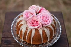 Not looking for a fancy wedding cake?  This bundt cake is gorgeous, with a simple glaze and beautiful pink roses on top.