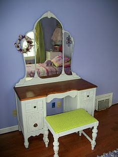 a vanity to redo , this one done with milk paint