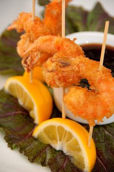 Panko Crusted Shrimp Lollipops    with Ginger Soy Caramel Dip