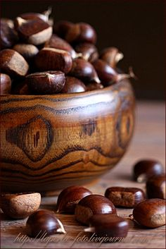 chestnuts in a wooden bowl