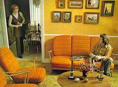 interior design, retro styles, fondue, orang, short stories, 1970s, vintage furniture, yellow walls, eyes