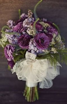 Eggplant Purple Bridal Bouquet - I like this, especially the ribbon.