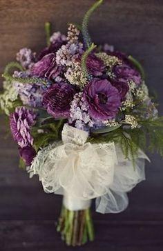 Eggplant Purple Bridal Bouquet - I like this, especially the ribbon.