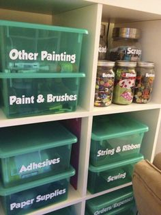 Craft Room Organization - The Doyle Dispatch.   I like how well labeled these containers are!  so easy to read.