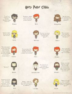 Harry Potter characters and iconic quotes.