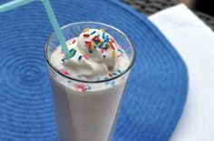 Healthy cake batter milkshake. For A!!