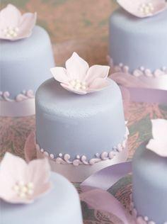 "small cakes ""pastel petunia scrolls"" via Peggy Porschen #blue #flowers #wedding #bride #bridal #shower"