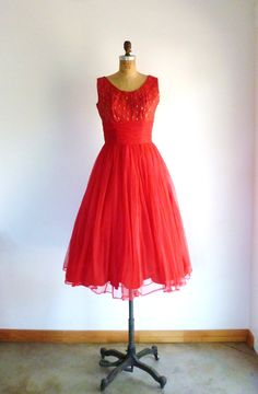 50s Dress Red Party Prom Dress Lace Chiffon Scarf by MetricMod, $98.00