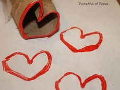 Heart Stamps from a toilet paper tube!