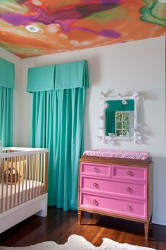idea, kid rooms, nurseri, hous, watercolor wallpap, wallpap ceil, painted ceilings, baby cribs, babies rooms