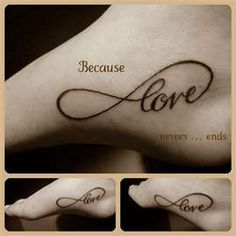 Infinity tattoo...really considering this for my next tattoo, but not sure if I want the word love or faith in it? Opinions please... : )